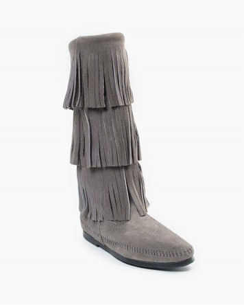 Minnetonka 3-Layer Fringe Boot Grey