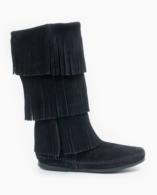 Minnetonka 3-Layer Fringe Boot Black