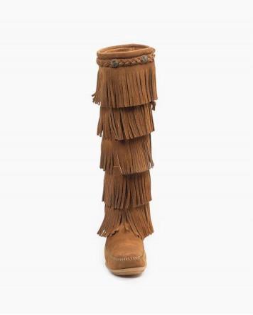 Minnetonka 5-Layer Fringe Boot Dusty Brown