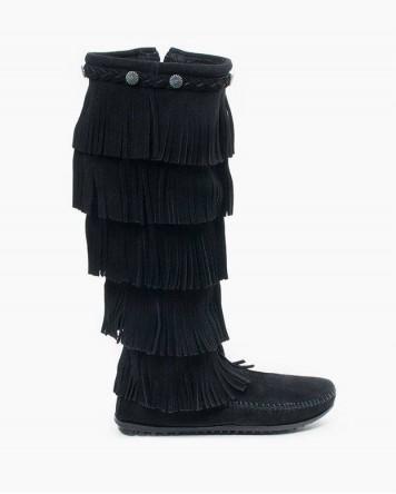 Minnetonka 5-Layer Fringe Boot Black