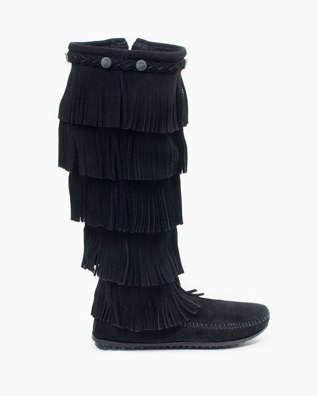 Minnetonka 5-Layer Fringe Boot Black