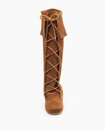 Minnetonka Front Lace Knee High Boot Brown