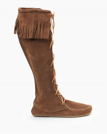 Minnetonka Front Lace Knee High Boot Dusty Brown