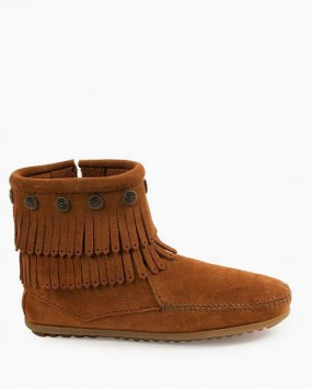 Minnetonka Double Fringe Side Zip Boot Brown