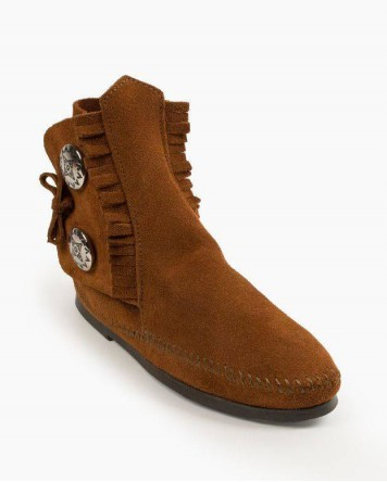 Two Button Hardsole Boot Brown