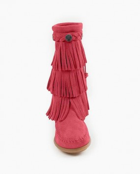 3-Layer Fringe Boot Hot Pink