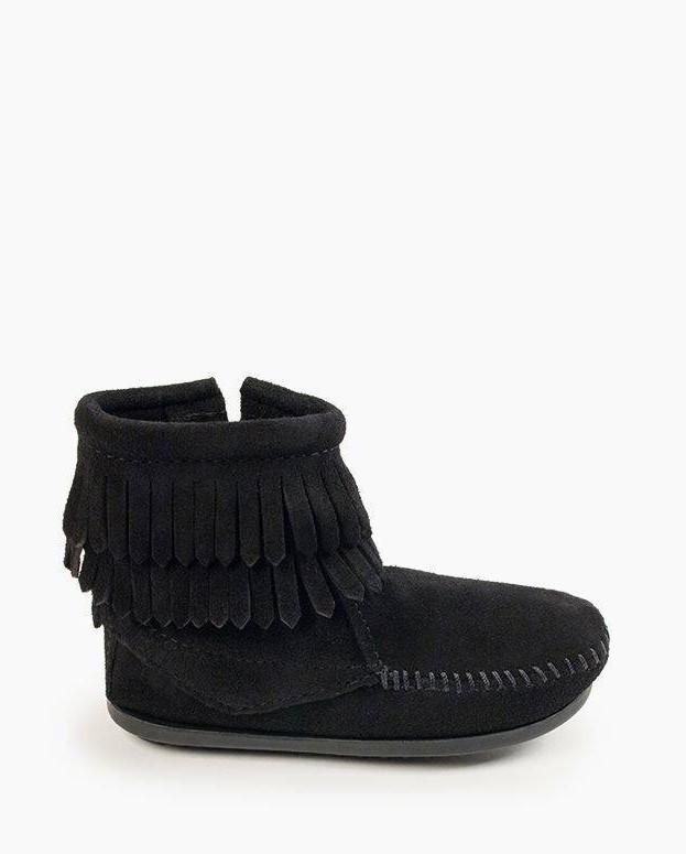 Double Fringe Side Zip Boot Black