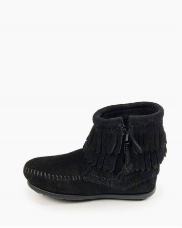 Double Fringe Side Zip Boot Black