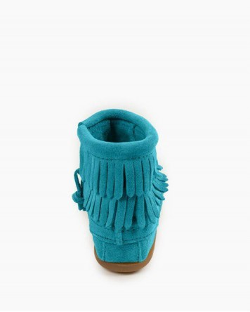 Double Fringe Side Zip Boot Turquoise