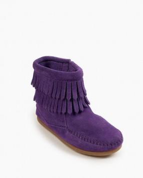 Double Fringe Side Zip Boot Purple