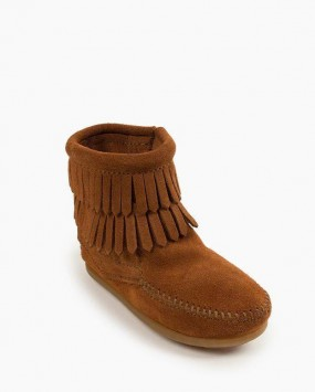Double Fringe Side Zip Boot Brown