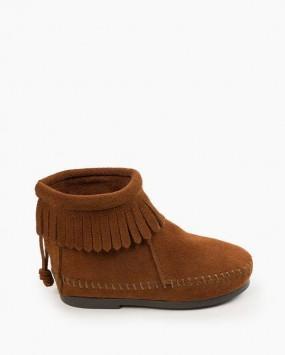 Back Zip Hardsole Boot Brown