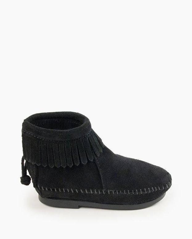 Back Zip Hardsole Boot Black