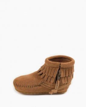Double Fringe Side Zip Bootie Taupe
