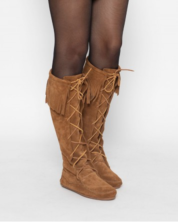 Front Lace Knee High Boot Dusty Brown