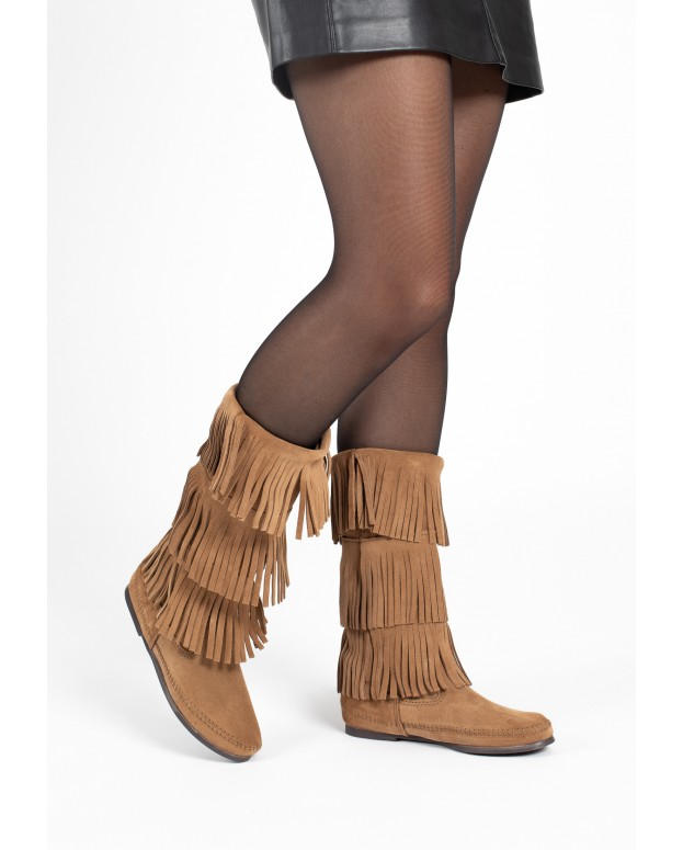 3-Layer Fringe Boot Taupe